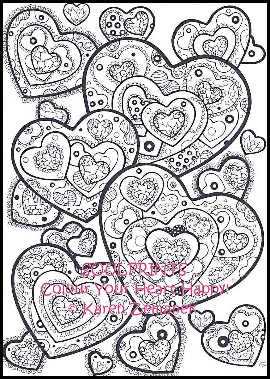 It is an image of Simplicity Adult Coloring Pages Hearts